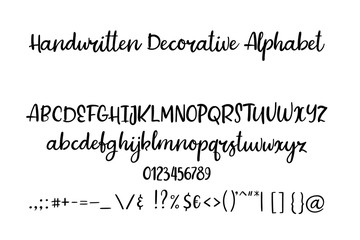 Decorative hand drawn alphabet. Handwritten brush font. Modern calligraphy ABC.