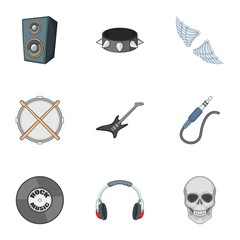 Rock music concert icons set, cartoon style