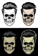 Hipster Skull, Skull with pomade hair, drawing skull with 4 style color
