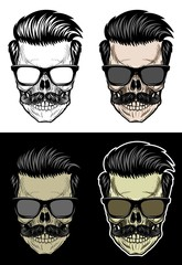 Skull with hair and mustache wearing sunglasses, drawing skull with 4 style color