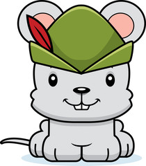 Cartoon Smiling Robin Hood Mouse