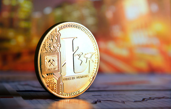 litecoin  on colorful background