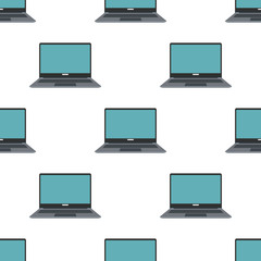 Laptop seamless pattern in flat style isolated on white background vector illustration for web