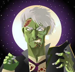 evil green undead zombie in the night