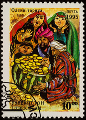 "Illustration from fairy tale ""The golden melon"" on postage stamp"