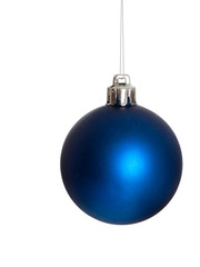 Blue Christmas bauble hanging on silvery chain, isolated on white.