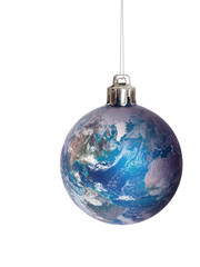 Christmas bauble featuring earth - US and Europe. Note elements of this image furnished by NASA.