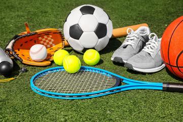 Sport set on fresh green grass outdoors