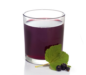 Blackcurrant juice in glass. White background.