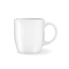 Realistic White Coffee or Tea Cup. Design Template for Mock Up. Vector illustration