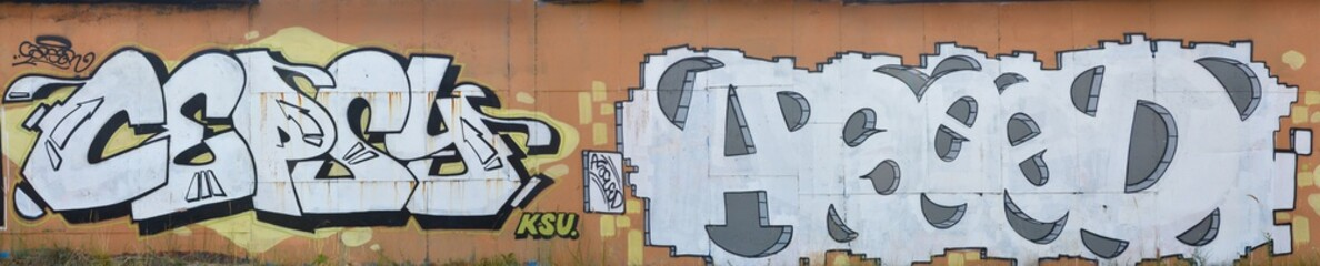 A photo of several graffiti artworks on the metal wall. Graffiti drawings are made with white paint...