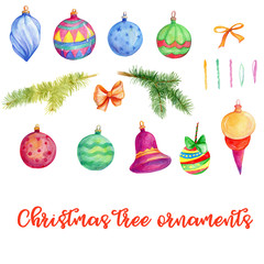 Christmas tree ornaments, New Year, winter holidays, winter decor, watercolor clip art, hand painted illustration, beautiful ornaments, bows, branches