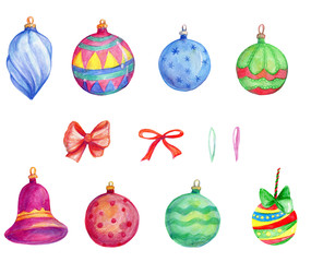 Christmas tree ornaments, New Year, winter holidays, decoration, beautiful hand painted watercolor ornaments