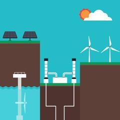 Renewable energy concept infographics flat design