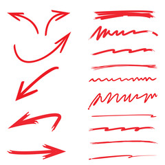 red arrows and doodle underlines