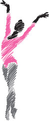ballet woman dancer brush illustration