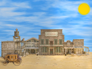 3D illustration of classic old deserted western town