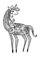 Hand drawn zentangle Ornamental Horse