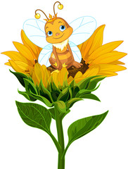 Poster Fairytale World Queen Bee on Sunflower