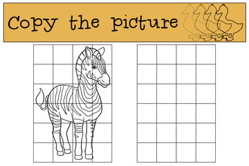 Educational game: Copy the picture. Cute beautiful zebra.