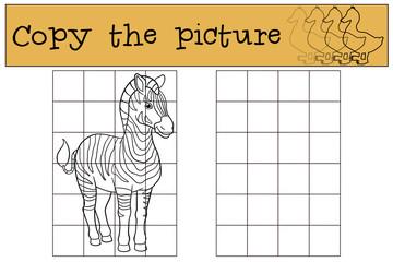 Educational game: Copy the picture. Cute beautiful zebra.