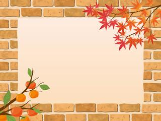 レンガ背景 秋のフレーム素材