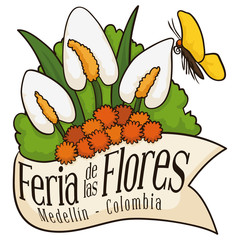 Beautiful Floral Arrangement behind Ribbon for Colombian Flowers Festival, Vector Illustration