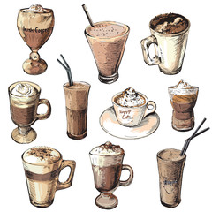 Set of different coffee beverages.Hot and cold coffee drinks.