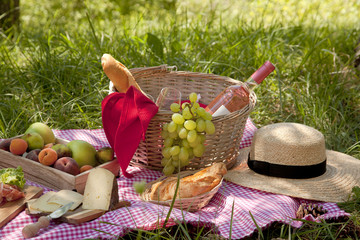 Aluminium Prints Picnic Picnic at the park on the grass: tablecloth, basket, healthy food, rose wine and accessories