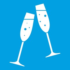 Two glasses of champagne icon white