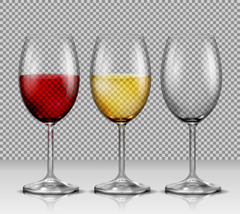 Set of illustrations, transparent vector wine glasses empty, with white and red wine, isolated. Print, template, design element