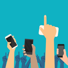 People hands up on concert show with smart phone vector.Hands holding mobile phone to taking picture crowd , variety .