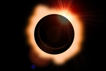 Solar eclipse with orange halo on black sky background.