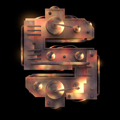 Iron mechanical old rust hot metal dollar symbol isolated on black background. Futuristic industrial alphabet in sci fi or steampunk style. Realistic 3d render.