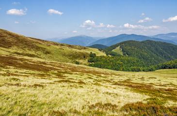 grassy hillsides on mountain ridge