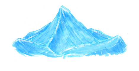 Hand drawn colorful cartoon snow ice mountains with marker and pencil in sketch style.