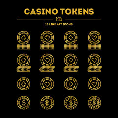 Casino tokens. Gold gradient edition with glitter.