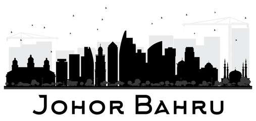 Johor Bahru Malaysia City skyline black and white silhouette.