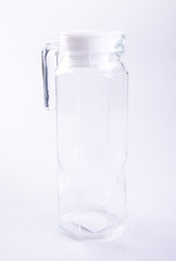 Water Jar or Empty glass jar on a background.