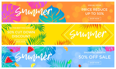 Summer sale banners of fruits and palm leaf vector online shopping flyer