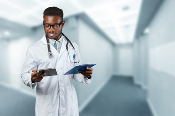 African american medical doctor man.