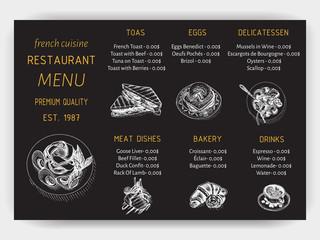 Vector illustration sketch - breakfast. Card Menu brunch. vintage design template, banner.