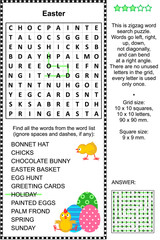 Easter holiday themed zigzag word search puzzle (suitable both for kids and adults). Answer included.
