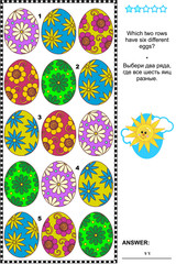 Visual logic puzzle with painted eggs: Which two rows have six different eggs? Answer included.