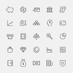 finance icons vector flat design illustration set