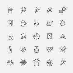 magic icons vector flat design illustration set