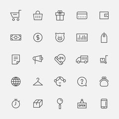 market icons vector flat design illustration set