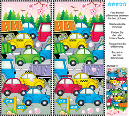 Spring or summer traffic jam picture puzzle: Find the ten differences between the two pictures of cars and trucks on the road, trees in blossom, falling petals, fresh green forest. Answer included.