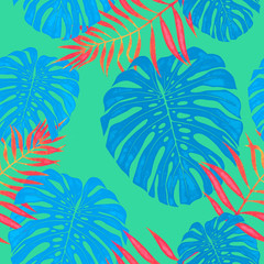 Palm leaf seamless pattern background of tropical trees branches