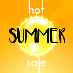 Summer sale hot discount promo poster of shining sun and orange background